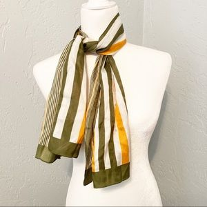 Vintage Long Silky Scarf rectangle striped